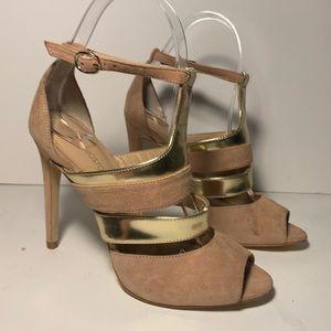Tan Gold Strap Heels Boston Proper fashion shoes
